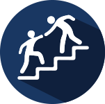 Illustration of a one person reaching out to help another on stairs